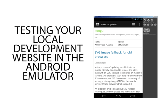 Testing your local development website in the android emulator