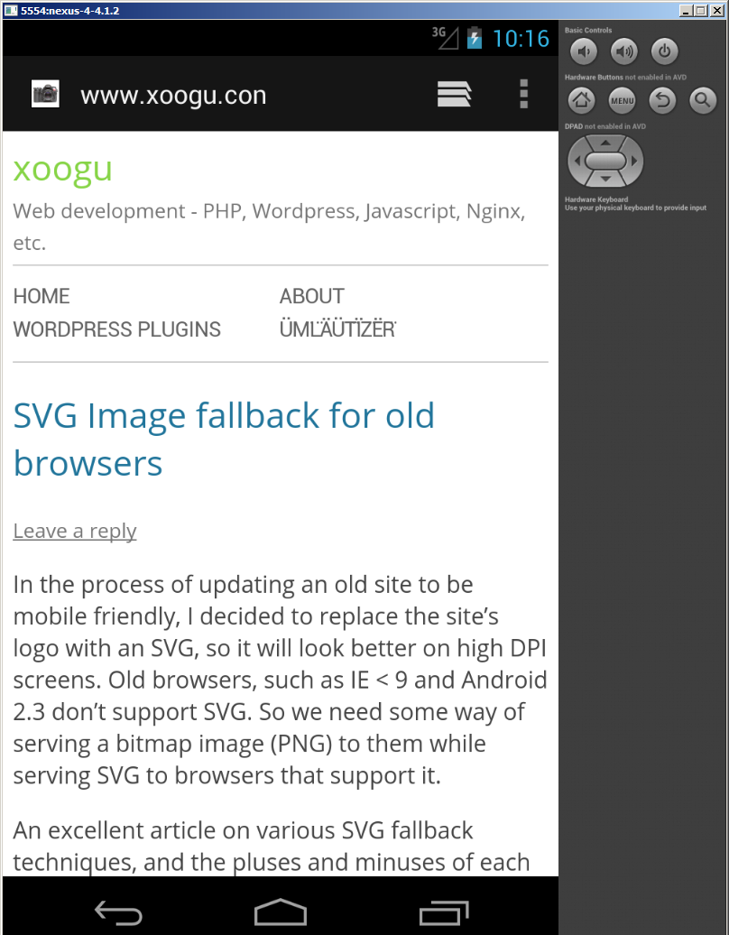 Testing a locally hosted website in the android emulator   xoogu