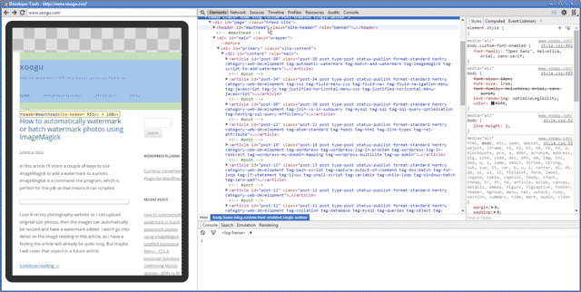 Inspecting the local development copy of this website on a Nexus 7 android tablet using Chrome developer tools on Windows