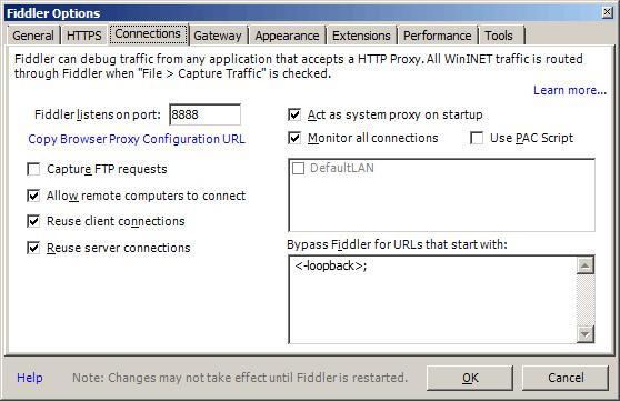 Fiddler proxy options on host machine