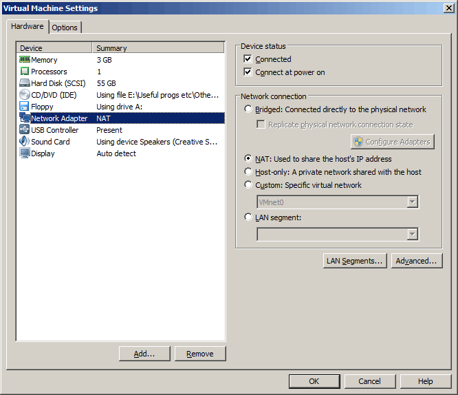VMWare Virtual Machine Network adapter settings set to NAT