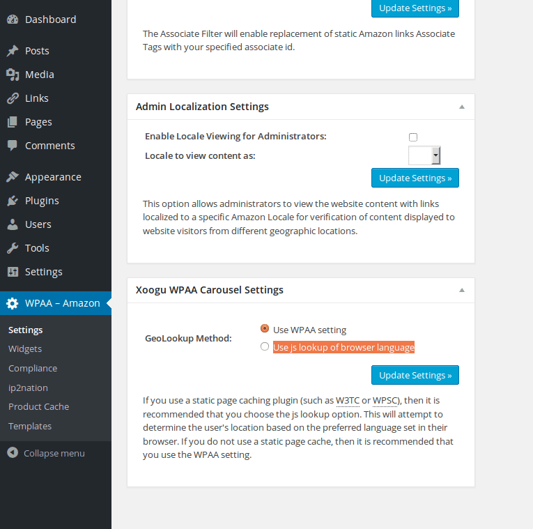 Carousel settings on the WPAA admin page in WordPress