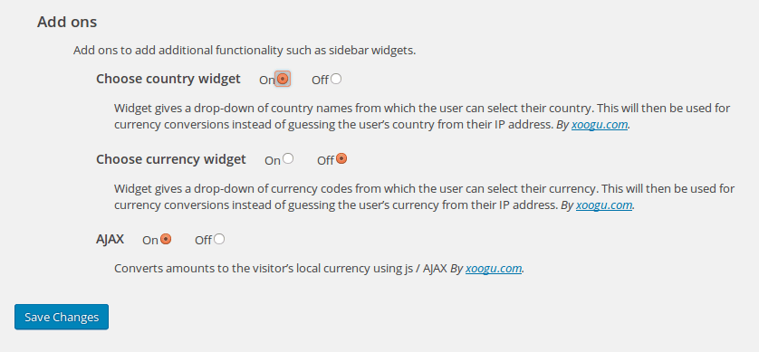 Add-ons section of Currency Conversion plugin settings