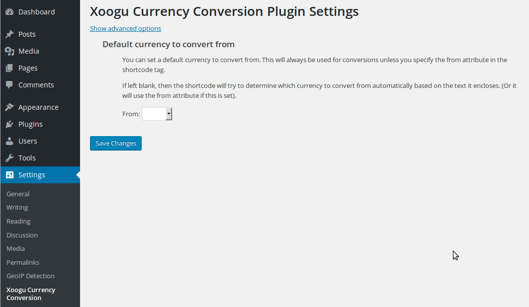 Plugin settings screen