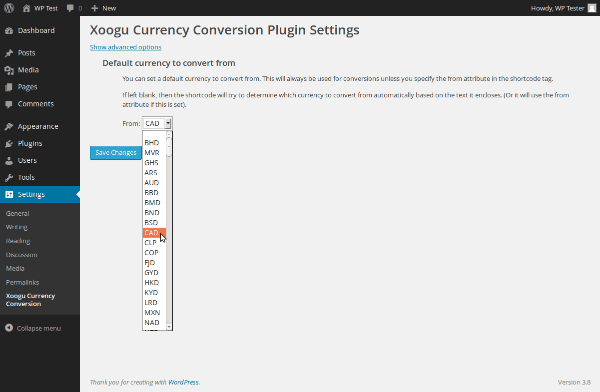 Currency conversion shortcode inserted