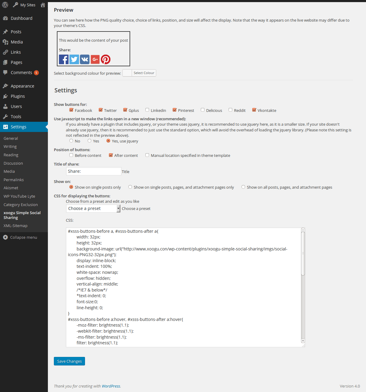 The plugin's Admin / Settings page