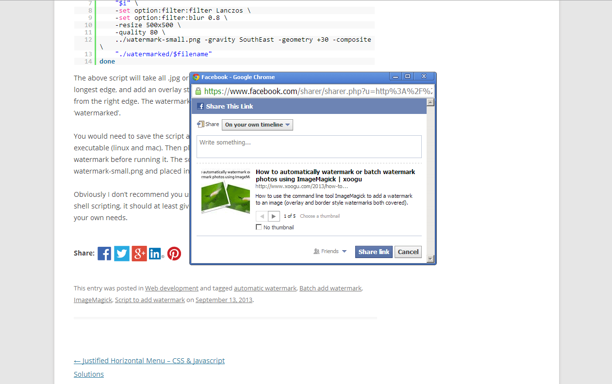 Example of clicking the facebook button added by the plugin